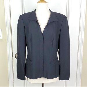 Escada | Black Wool Silk Button Down Blazer 10